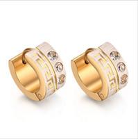 boucles d'oreilles grecques achat en gros de-Plaqué Or Boucles D'oreilles Pour Femmes Grec Clé Motif Classique Mignon Cristal CZ Bijoux En Gros EH-157