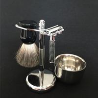 Wholesale Mug Hair - Beard Shaving Set Pure Badger Wet Hair Shaving Brush for men Stainless Safty Razor and Brush Holder Razor Stand with Shaving Mug   Bowl
