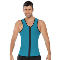 Wholesale Zipper Corsets - Hot Zipper Waist Trainer Men Ultra Sweat Neoprene Corset Slimming Vest Belt Waist Cincher Body Shaper Corsets Mens Slimming Shapewear RF0371