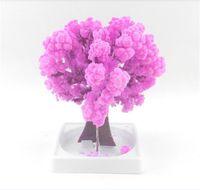 papel mágico al por mayor-iWish 2019 Visual Magic Artificial Sakura Paper Trees Magical Christmas Growing Tree Desktop Cherry Blossom Kids Nuevos juguetes para niños 20PCS
