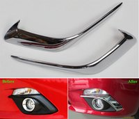 Mazda pair lamp shades - Chrome Front Fog Lamp Eyelids Cover Trim For NEW MAZDA AXELA pair Fog Lamp Shade Eyebrow Car Styling