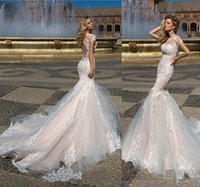 Wholesale Semi Mermaid Wedding Dresses - 2017 New Arrival Semi-nudity Lace Mermaid Wedding Dresses Magical Illusion Applique Tulle Wedding Dress Bridal Gowns 60 cm Long Train
