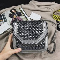 Wholesale Knit Cross Body Bags Black - 2017 Top qualituy Stella bag Falabella Box Mini Wicker Metallic chains shoulder bag knitting Cowhide leather Crossbody Bag
