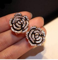 Wholesale Camellia Flower Earrings - E13 Famous Luxury Brand Designers Jewelry Small Camellia Flowers Charm Fashion Gold Plated 2016 New Study Earring For Women