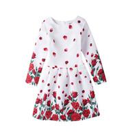 Wholesale Dress 12years - elegant causal girl dress retro flower print princess dress for 5-12years girls kids children princess vestido Summer clothes