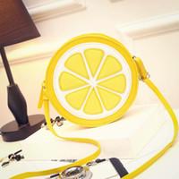 Wholesale Lemon Yellow Handbags - 2017 new fashion women Handbags new cute fruit lemon small round bag students fashion casual female shoulder bag
