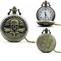 Wholesale Necklace Skull Pocket Watch - Bronze Mens Gun Skull pocket watches Vintage necklace watch 2nd AMENDMENT DEFENDING LIBERTY SINCE 1791 Army alloy chain pocket quartz watch
