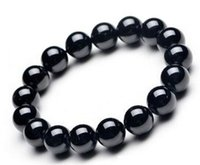 Wholesale Carved Stone Beads Wholesale - Lucky Crystal Stone Bead 12mm Natural Black Obsidian Carved Bracelets Amulet Round Beads Bracelets for Men Women Fashion Jewelry