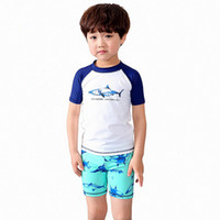 Wholesale Boys Swim Hat - Three-pieces Boys Shark Swimsuit Short Sleeve Shorts Hat Split Suit Nylon Spandex Elastic High Quality Kids Swim