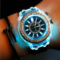 Wholesale Led Glasses Dropshipping - NEW Big Quartz Watch Geneva Flashing LED 8 colors Backlight Fashion Women Wristwatch Rhinestone Crystal Girl gift Dropshipping