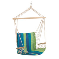 as show outdoor porch swings - Canvas Striped Hammocks Porch Camping Rope Patio Swing Seat Chairs With Armrests Indoor And Outdoor Hanging Chair New Arrival xl A