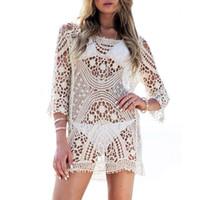 Wholesale Crochet Blusa - 2017022526 Summer Women's Lace Hollow Blouses Shirts Casual 3 4 Sleeve White Crochet Long Shirt Tops Sexy Women Beach Bikini Cover up Blusa