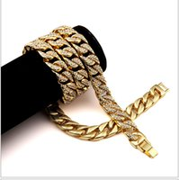 Mens Iced Out 18K Gelbgold Finish Rappers Miami Kubaner Link Kette Halskette