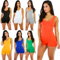 Wholesale Womens Playsuits Short - Jumpsuit For Womens 2017 Sexy Romper Bodysuit Bodycon Deep V Neck Short Pants Sleeveless Tank Sporting Clothing Feminino Playsuits