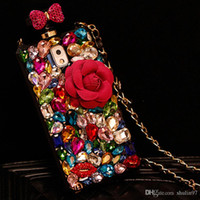 Pour Samsung galaxy s5 s6 s7 s8 edge plus Diamond Crystal Rhinestone Flower Lanyard Parfum Bouteille Housse Housse