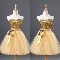 Wholesale Green Dresses Tull - Cheap Homecoming Dress with Sash Slight Sweetheart Neck Shiny Sequined Fabric Bodice Tull Skirt Gold Dreses for Graduation