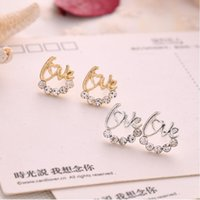 Wholesale Tanzanite Silver Jewelry Wholesale - 2017 Selling creative earrings super flash drill English LOVE letter earrings earrings small jewelry Retail and wholesale