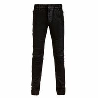 Wholesale Waxed Coated Jeans - 2017 Paris Designer Jeans Men Black Waxed Slim Skinny Moto Biker Jeans Brand New with Tags