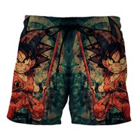 Wholesale Dragonball Vegeta - Dragon Ball Z Men's Summer Casual Shorts Super Saiyan 4 Vegetto Kid Son Goku Vegeta Dragonball 3D Print Beach Shorts Plus Size