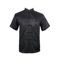 шелковые рубашки мужчины xxl оптовых-Wholesale- Dragon Black Summer New Chinese Men's Silk Satin  Shirt Top with Pocket Size S M L XL XXL XXXL Free Shipping 020623