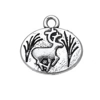 Wholesale Necklace Fur - Silver Plated Lovely Decoration Deer & Fur Seal Animals Charms Zinc Alloy Pendant For Necklaces Bracelets Making