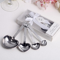 Wholesale Heart Shaped Spoons Wholesale - 50 sets lot Love Wedding favors of Simply Elegant Heart Shaped Stainless Steel measuring spoon in White Gift Box Free shipping