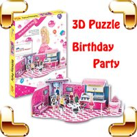 Nouveau cadeau de bricolage LEER Birthday Party 3D Puzzle Cartoon Model Girls Doll Party House Kids Handwork Learning Education Toys Collection