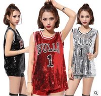 Wholesale Women Sequin Top Dance - High Quality 2016 Women Beyonce Bulls 1 Sequined Jerseys Girls Casual Tops Pole Dance Disco Jazz Dance Hip-hop T Shirt