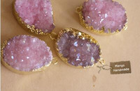 Wholesale Purple crystal ore Stone Pendant Natural Crystal Drusy Gem stone Pendant for Necklace DIY accessories material accessories