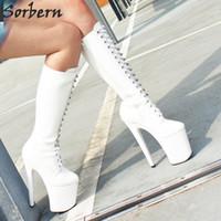 chunky ferse oberschenkel hohe stiefel weiß groihandel-Frauen-reizvolle Art- und Weiseschuhe kniehohe Stiefel schnüren sich oben klumpige heeled Plattform-Schenkel-hohe Aufladungen weiße Stilett-Zip-lederne dünne Absatz-Aufladungen