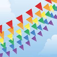 ingrosso bandiere da giardino di nozze-All'ingrosso- Colore 30 M Bunting Bandiere, decorazione partyparty, bandiera personalizzata Forniture da matrimonio da giardino, bandiere e bandiere rosse blu