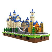 Wholesale Led Building Blocks - 6800pcs LOZ Mini Neuschwanstein DIY Building Toys Swan Stone Castle World Building Educational Blocks with LED light kit base