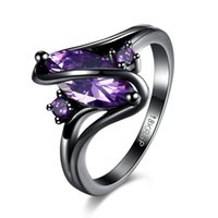 Wholesale Titanium Rings Blue Stones - Amazing Fashion Rings Black Gun Plated CZ Crystals Rings Red Purple Blue Glass Stones Rings Women's Wedding Ring Jewelry