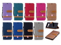 Wholesale Iphone Flip Case Color - Jean Hybrid Leather Wallet Case For Iphone X 8 7 Plus 6 6S Galaxy Note8 Note 8 Cloth Stand Holder Hit Color TPU Card Slot Flip Holder Stand