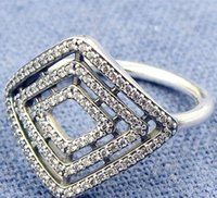 Wholesale 925 Line Rings - 2017 New 100% 925 Sterling Silver European Pandora Jewelry Geometric Lines Ring with Cz Fashion Charm Ring