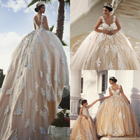 dentelle de robe de mariage achat en gros de-Robes de mariée robe de bal en dentelle Vintage délicates appliques perles robes de bal de mariage balayage longueur robe de mariée décolleté scoop