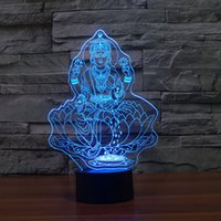 Wholesale Buddha Led Light - Wholesale- Four hand figure of Buddha 3D LED Night Light 7 Color Dimming illusion Bedroom Lamp Children Kids Toys For Party