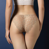 Wholesale Ladies Transparent Briefs - Hot Sexy Women Lace Underwear Transparent Female Low Waist Hollow Out T Back Panties Lady Briefs