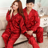 Wholesale China Clothing Wholesalers Silk - Wholesale- 2017 Spring Summer Autumn China Silk Pijamas Sets of Sleepcoat & Trousers Couple Sleepwear Valentine Nightgown & Home Clothes