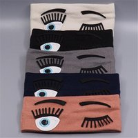 Wholesale Eye Hair Band - Big Eyes Elastic Headbands Women Cotton Hairbands Girls Ladies Fashion Yoga Sport Hair Bands Accessories 17.5cm * 7cm Black White Grey Blue