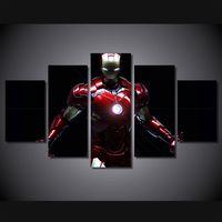 affiches de cinéma achat en gros de-5 Pcs / Set Encadrée HD Imprimé Iron Man Film Peinture sur toile décoration de la salle d'impression affiche photo toile livraison gratuite / ny-1588