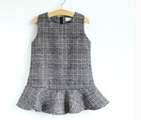 Wholesale Woollen Dresses - 2017 Autumn Winter Baby Girls Dresses plaid Woollen cloth Thick vest Dress Children Clothing 317816