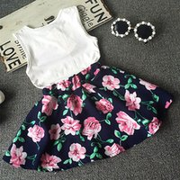 Wholesale Casual Mini Skirt Outfits - Wholesale- 2016 Summer Kids Baby Girls Ruffled Tops+Floral Mini Skirts 2pcs Set Outfit 1-7Y Dresses