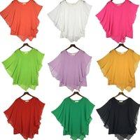 Wholesale Blouse Size 18 - plus size S - 4XL 5XL 6XL Summer Women Chiffon Blouses Bat Sleeve chiffon shirts blousas shirts,18 color vestidos casual shirts