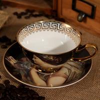 copos de café altos venda por atacado-Alta Qualidade Criativa Europeia Estilo Aristocrático Osso China Coffee Cup, Os Detalhes Artesanais Tradicionais Da Bela, Hora Do Chá Da Tarde.