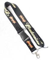 брелок для ключей брелок для ключей оптовых-Горячее пиво Budweiser Lanyard Брелок ID Брелок для мобильного телефона Шейный ремешок.
