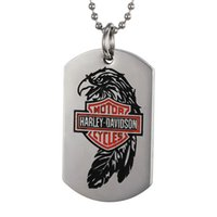 Wholesale Initial Stamp Necklace - 2017, Europe and the United States wind stainless steel pendants, men's Harley parrot pendant, red letters stamp tag