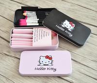 Wholesale Hello Hair Kitty - 2017 Hot Sale Professional Makeup Brush Set, Hello Kitty Makeup brushes, 7 pcs per Set, DHL Free Shipping
