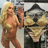 Wholesale Golden Bikini Bra - Sexy Bikinis Sequins Golden Color Women Bandage Bikini Set Push-up Padded Bra Swimsuit Suit Swimwear