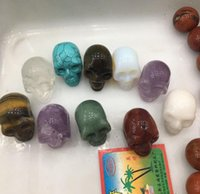 Wholesale Crystal Skull Carving - Natural crystal skull jewelry amethyst bai shuijing tiger's eye turquoise Dongling jade opal agate 30 mm size mia Seven kinds free shipping